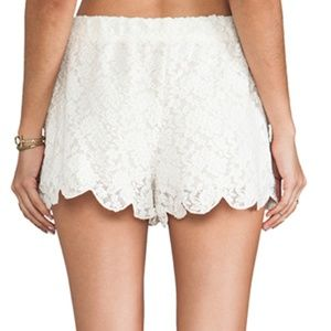 Free People Shorts - Free People Scallop Lace White Shorts Size Medium
